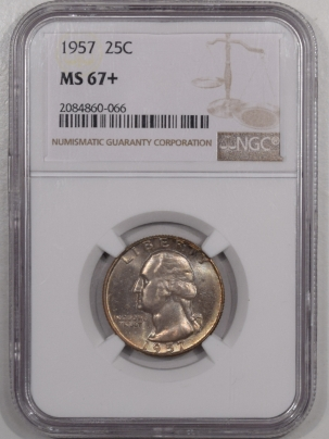 New Certified Coins 1957 WASHINGTON QUARTER – NGC MS-67+ GORGEOUS!
