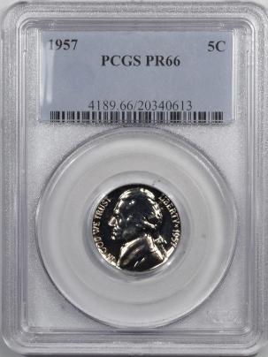 Jefferson Nickels 1957 PROOF JEFFERSON NICKEL – PCGS PR-66