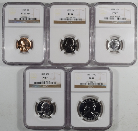 U.S. Proof Sets 1957 5 PIECE PROOF SET, MATCHED NGC PR-67, ALL COINS ARE LUSTROUS & UNTONED!