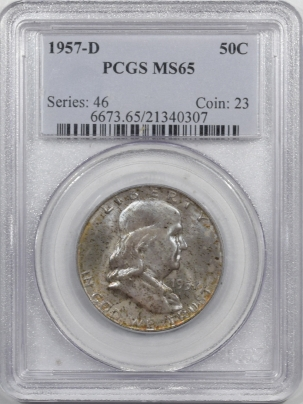 New Certified Coins 1957-D FRANKLIN HALF DOLLAR – PCGS MS-65
