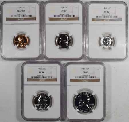 U.S. Proof Sets 1958 5 PIECE PROOF SET, MATCHED NGC PR-67, ALL COINS ARE LUSTROUS & UNTONED!