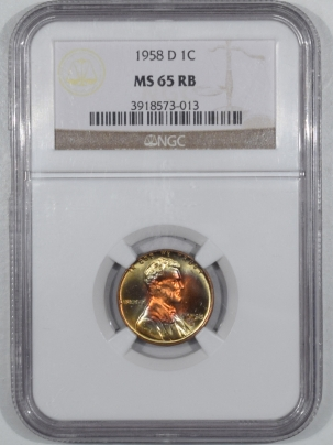 Lincoln Cents (Wheat) 1958-D LINCOLN CENT NGC MS-65 RB, UNBELIEVABLE MONSTER RAINBOW TONED, GORGEOUS!