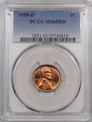 Lincoln Cents (Wheat) 1958-D LINCOLN CENT – PCGS MS-65 RD PRETTY REVERSE!