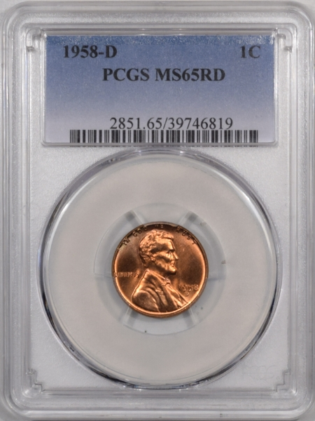 New Certified Coins 1958-D LINCOLN CENT – PCGS MS-65 RD PRETTY REVERSE!