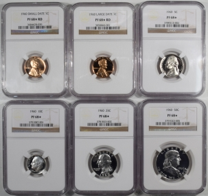 New Certified Coins 1960 6 PIECE PROOF SET W/ SMALL + LARGE DATES, MATCHED NGC PR-68 STAR!, LUSTROUS