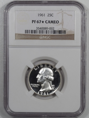 New Certified Coins 1961 PROOF WASHINGTON QUARTER – NGC PF-67 STAR CAMEO LOOKS DCAM!