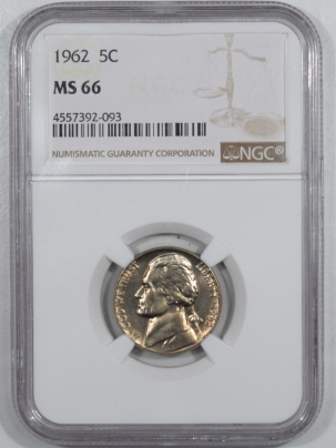 Jefferson Nickels 1962 JEFFERSON NICKEL – NGC MS-66 NEARLY FS!
