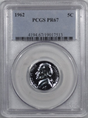 New Certified Coins 1962 PROOF JEFFERSON NICKEL – PCGS PR-67 GORGEOUS!