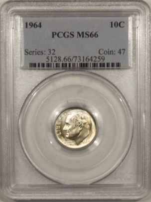 New Certified Coins 1964 ROOSEVELT DIME – PCGS MS-66 WHITE!