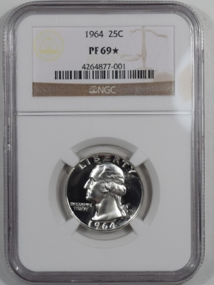New Certified Coins 1964 PROOF WASHINGTON QUARTER – NGC PF-69 STAR LOOKS CAM!