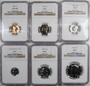 New Certified Coins 1964 US COIN PROOF SET W/ EXTRA POINTED 9 10C – LOT OF 6 – NGC PF-67