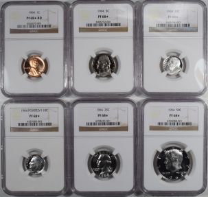 New Certified Coins 1964 US PROOF SET WITH EXTRA POINTED 9 10C LOT OF 6 – NGC PF-68 STAR