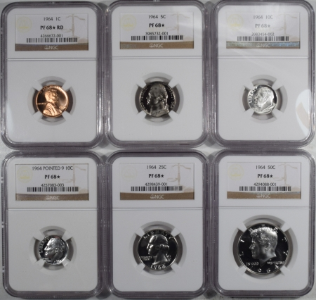 U.S. Proof Sets 1964 US PROOF SET WITH EXTRA POINTED 9 10C LOT OF 6 – NGC PF-68 STAR