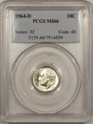 New Certified Coins 1964-D ROOSEVELT DIME – PCGS MS-66 WHITE!