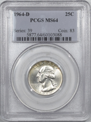 New Certified Coins 1964-D WASHINGTON QUARTER – PCGS MS-64