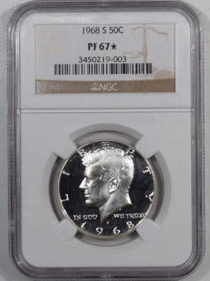 New Certified Coins 1968-S PROOF KENNEDY HALF DOLLAR – NGC PF-67 STAR