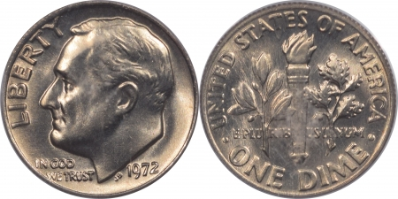 New Certified Coins 1969-D, 1970 & 1972 ROOSEVELT DIMES LOT OF 3 – PCGS MS-66/65/65
