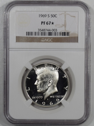 New Certified Coins 1969-S PROOF KENNEDY HALF DOLLAR – NGC PF-67 STAR