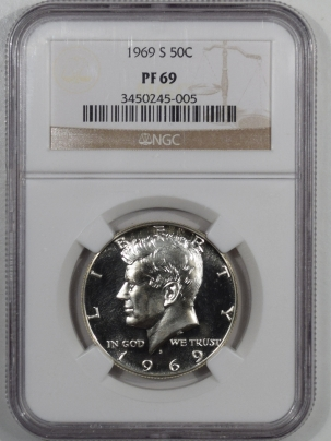 New Certified Coins 1969-S PROOF KENNEDY HALF DOLLAR – NGC PF-69