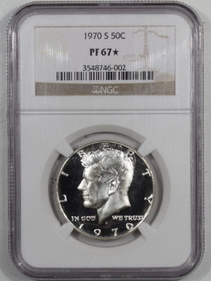 New Certified Coins 1970-S PROOF KENNEDY HALF DOLLAR – NGC PF-67 STAR