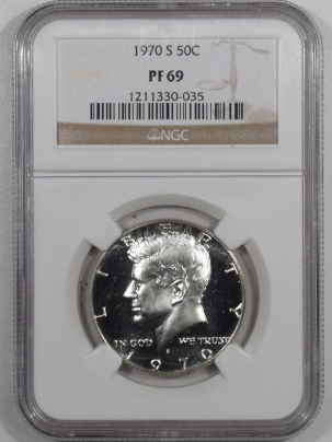 New Certified Coins 1970-S PROOF KENNEDY HALF DOLLAR – NGC PF-69