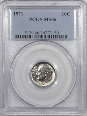 New Certified Coins 1971 ROOSEVELT DIME – PCGS MS-66