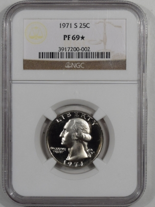New Certified Coins 1971-S PROOF WASHINGTON QUARTER – NGC PF-69 STAR
