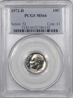 New Certified Coins 1972-D ROOSEVELT DIME – PCGS MS-66