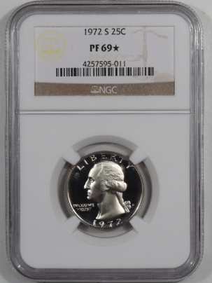 New Certified Coins 1972-S PROOF WASHINGTON QUARTER – NGC PF-69 STAR
