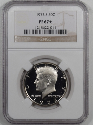 New Certified Coins 1972-S PROOF KENNEDY HALF DOLLAR – NGC PF-67 STAR