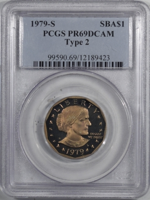 New Certified Coins 1979-S PROOF SUSAN B. ANTHONY DOLLAR, TY II – PCGS PR-69 DCAM, TOUGH!