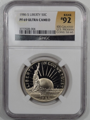 New Certified Coins 1986-S PROOF LIBERTY COMMEMORATIVE HALF – NGC PR-69, 100 GREATEST MODERN COINS!