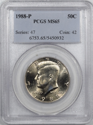 New Certified Coins 1988-P KENNEDY HALF DOLLAR PCGS MS-65, FULL GEM
