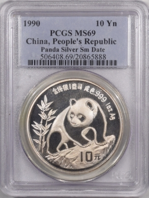 New Certified Coins 1990 CHINA 10 YUAN 1 OZ SILVER PANDA, SMALL DATE PCGS MS-69, TOUGH DATE