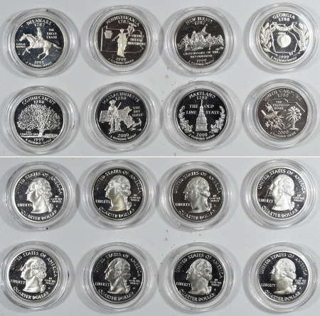 New Certified Coins COMPLETE 56 PC 90% SILVER STATE QUARTER SET – GEM PROOF CUSTOM WOOD BOX, NICE!!