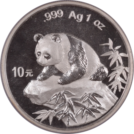 New Certified Coins 1999 CHINA 10 YUAN 1 OZ SILVER PANDA, SMALL DATE PCGS MS-68