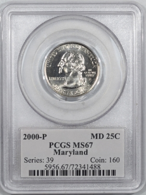 New Certified Coins 2000-P WASHINGTON QUARTER – MARYLAND – PCGS MS-67 FLAG HOLDER!