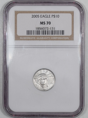 New Certified Coins 2005 1/10 OZ $10 PLATINUM AMERICAN EAGLE – NGC MS-70