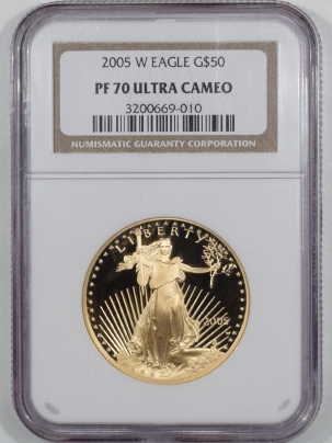 American Gold Eagles 2005-W $50 PROOF AMERICAN GOLD EAGLE – NGC PF-70 ULTRA CAMEO