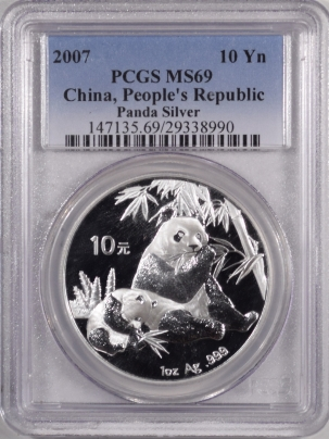 New Certified Coins 2007 CHINA 10 YUAN 1 OZ SILVER PANDA, PCGS MS-69