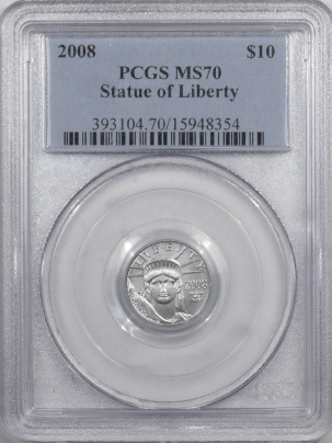 New Certified Coins 2008 $10 1/10 PLATINUM AMERICAN EAGLE – STATUE OF LIBERTY – PCGS MS-70