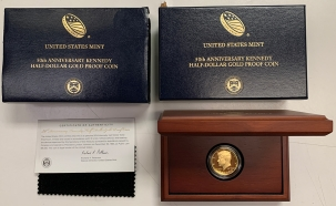 New Certified Coins 2014-W KENNEDY 50TH ANNIVERSARY GOLD COMMEMORATIVE HALF DOLLAR GEM PROOF BOX COA