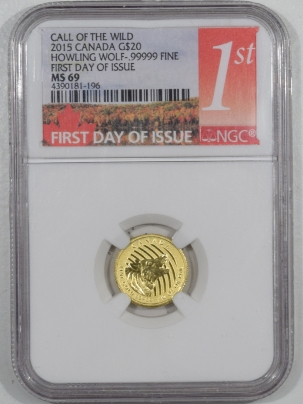 New Certified Coins 2015 CANADA $20 GOLD CALL OF THE WILD 1/10 OZ – NGC MS-69