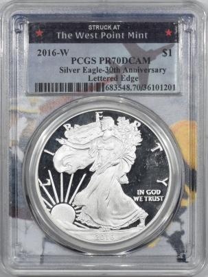 American Silver Eagles 2016-W $1 PROOF AMERICAN SILVER EAGLE – PCGS PR-70 DCAM 30TH ANNIVERSARY