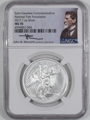 New Certified Coins 2017 1OZ SILVER ST GAUDENS COMMEM NATIONAL PARK FOUNDATION NGC MS70 MERCANTI COA