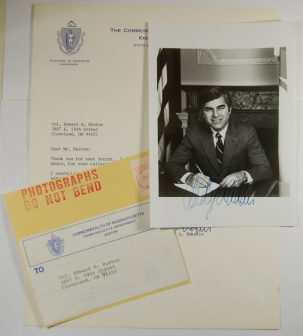 Other Collectibles 1985 MICHAEL DUKAKIS 5 X 7 AUTOGRAPHED PHOTOGRAPH W/ AUTOGRAPHED LETTER EXC