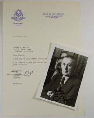 Other Collectibles 1985 CONNECTICUT GOVENOR WILLIAM A O'NEILL AUTOGRAPHED 3X5 PHOTO W/ LETTERHEAD