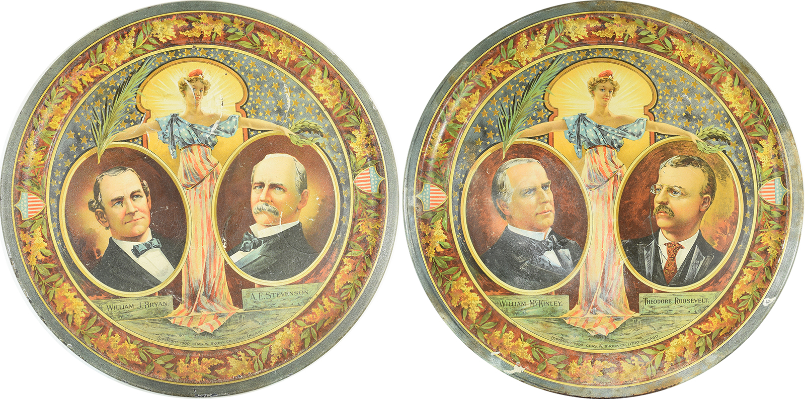 Other Collectibles 1900 PAIR OF GRAPHIC 12″ MCKINLEY & BRYAN TIN TRAYS-SCARCE VG+/EXC, MINOR FLAWS