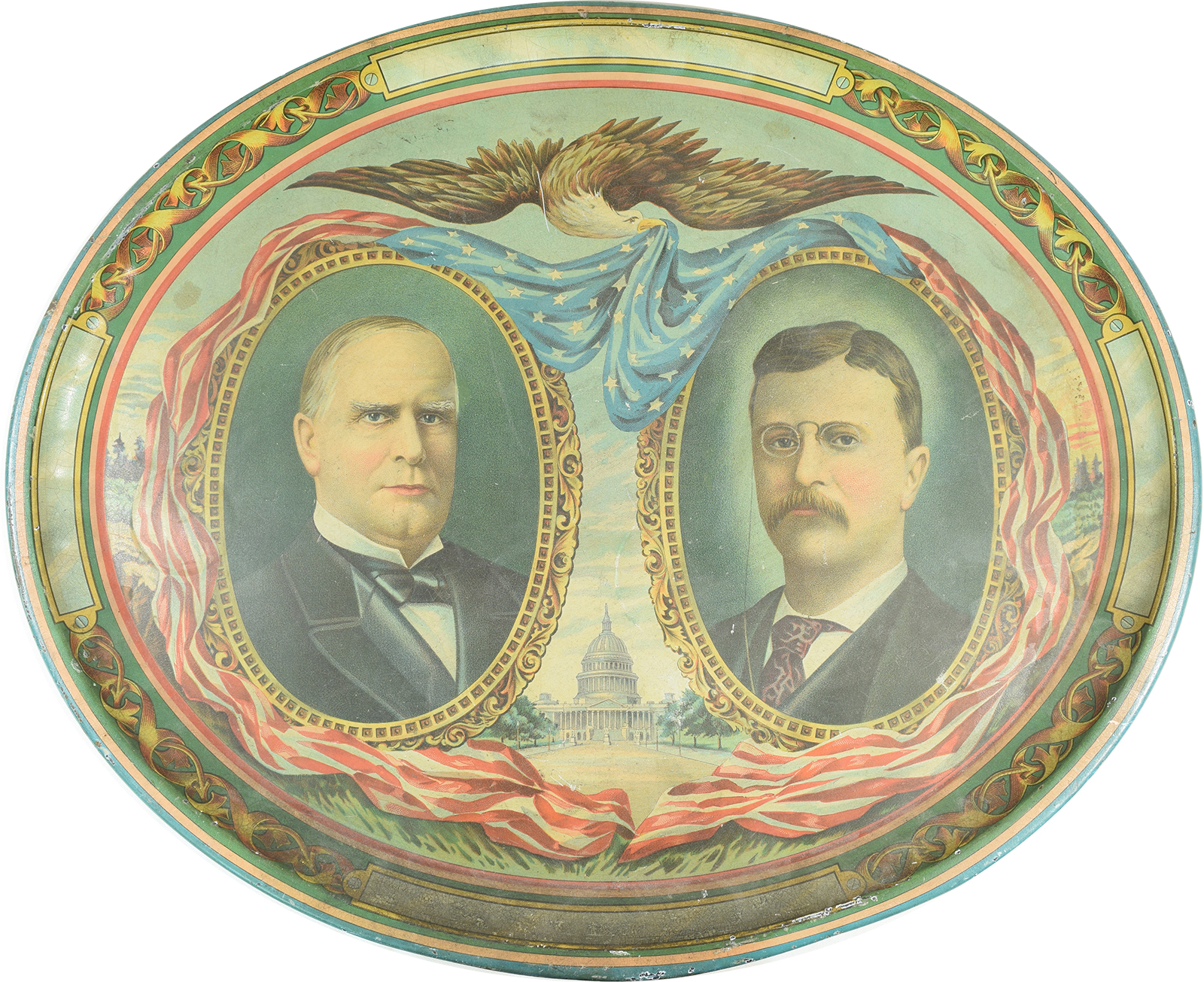 Other Collectibles 1900 SCARCE 16″ OVAL MCKINLEY-ROOSEVELT JUGATE CAMPAIGN TIN TRAY VG+/EXC