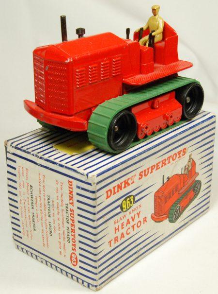Dinky 1954 DINKY #963 BLAW KNOW HEAVY TRACTOR, RED near-MINT+ W/ EXC BOX
